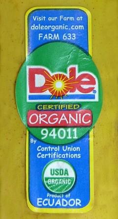 Dole Organic Label