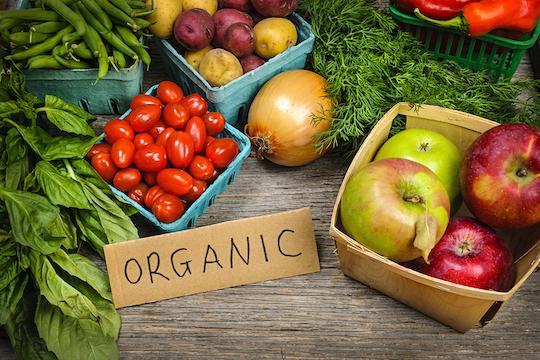 Fresh organic farmers market fruit and vegetable on display