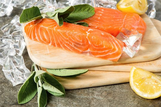 Salmon Fillet With Fresh Sage Herb, Lemon And Ice