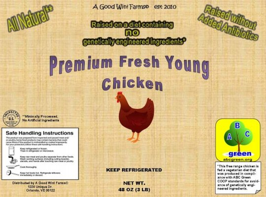 usda non-gmo labels fresh young chicken